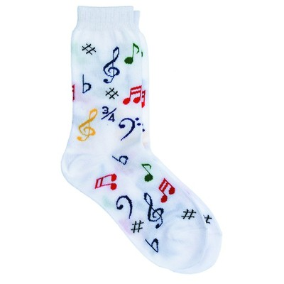 Socks Aim Socks White Notes Multi - Aim - 10008B