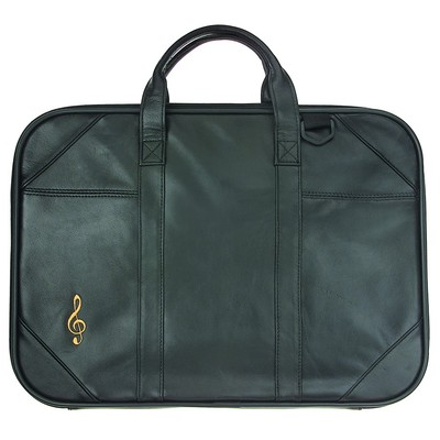 Briefcase Aim  Leather G-Clef Embroidery W/Strap - Aim - 46001