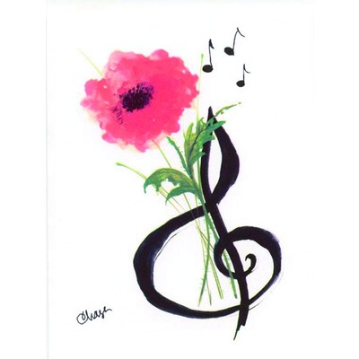 Note Card Aim G-Clef & Posey 8/Pk - Aim - 51811