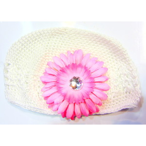 Girls Flower Hat - White/Soft Pink