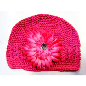Girls Flower Hat - Hot Pink