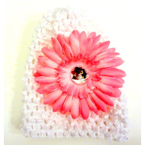 Infant Flower Hat - White/Soft Pink