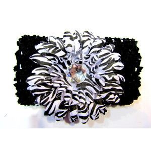 Flower Headband - Black/Zebra
