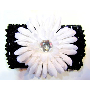 Flower Headband - Black/White