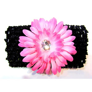 Flower Headband - Black/Soft Pink