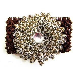 Flower Headband - Brown/Leopard