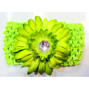 Flower Headband - Lime Green