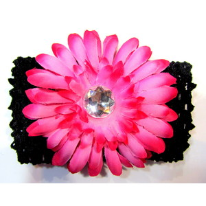 Flower Headband - Black/Hot Pink