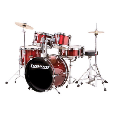 Ludwig Junior Drum Kit - Throne, Cymbals, with Hardware - 5-Piece, Red - Ludwig - LJR1064