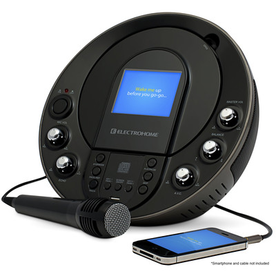 """Electrohome Karaoke Machine and Portable Speaker System with CD+G/MP3+G Player, 3.5"""" Video Screen & 2 Microphone Connections (871363017260)"""