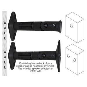 Universal Wall / Ceiling Speaker Mount Brackets for Satellite Speakers (Pair, Black)