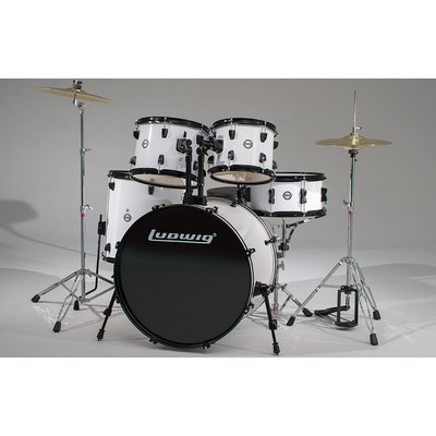 """Accent Fuse Drum Kit with Hardware and Cymbals - 10""""/12""""/14""""/20""""/SD - White - Ludwig - LC1708"""