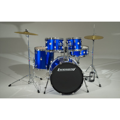 """Accent Drive Drum Kit with Hardware and Cymbals - 10""""/12""""/16""""/22""""/SD - Deep Blue - Ludwig - LC1759"""
