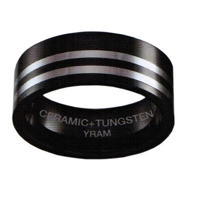 8mm Black Ceramic with 2 lines Tungsten Flat