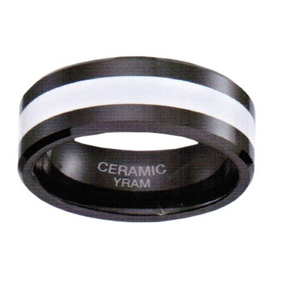 8mm Black Ceramic with White Inlay