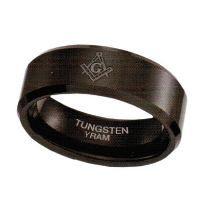 8mm Black Tungsten with Masonic Sign