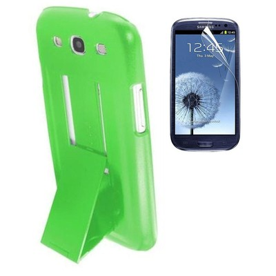 Protective Stand Case & Screen Protector for Samsung S3 - Green Color
