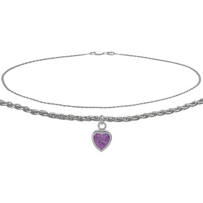 14K White Gold 10 Inch Wheat Anklet with Genuine Amethyst Heart Charm