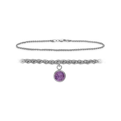 14K White Gold 9 Inch Wheat Anklet with Genuine Amethyst Round Charm