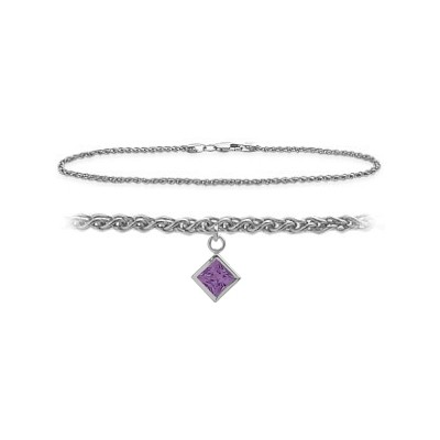 14K White Gold 9 Inch Wheat Anklet with Genuine Amethyst Square Charm