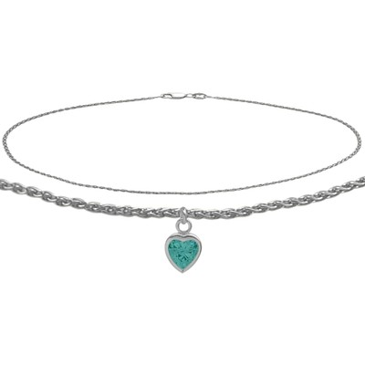 14K White Gold 10 Inch Wheat Anklet with Genuine Blue Topaz Heart Charm