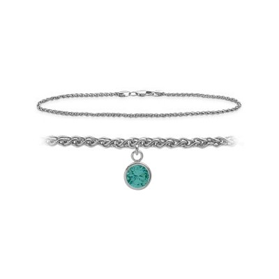 14K White Gold 9 Inch Wheat Anklet with Genuine Blue Topaz Round Charm