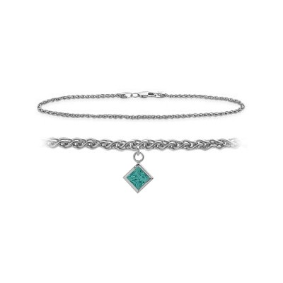14K White Gold 10 Inch Wheat Anklet with Genuine Blue Topaz Square Charm