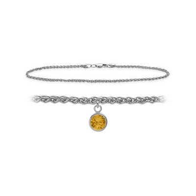 14K White Gold 10 Inch Wheat Anklet with Genuine Citrine Round Charm