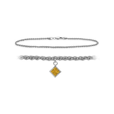 14K White Gold 9 Inch Wheat Anklet with Genuine Citrine Square Charm