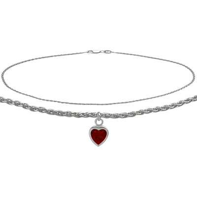 10K White Gold 9 Inch Wheat Anklet with Genuine Garnet Heart Charm