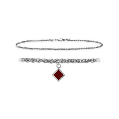 14K White Gold 9 Inch Wheat Anklet with Genuine Garnet Square Charm