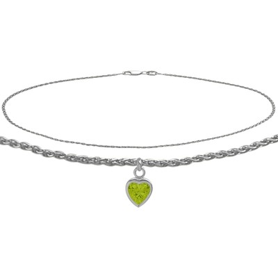 14K White Gold 10 Inch Wheat Anklet with Genuine Peridot Heart Charm