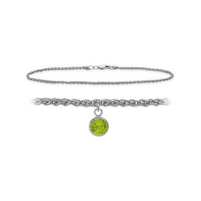 14K White Gold 10 Inch Wheat Anklet with Genuine Peridot Round Charm