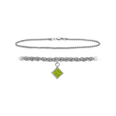 14K White Gold 9 Inch Wheat Anklet with Genuine Peridot Square Charm