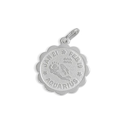 Round Sterling Silver Aquarius Zodiac Pendant with Chain