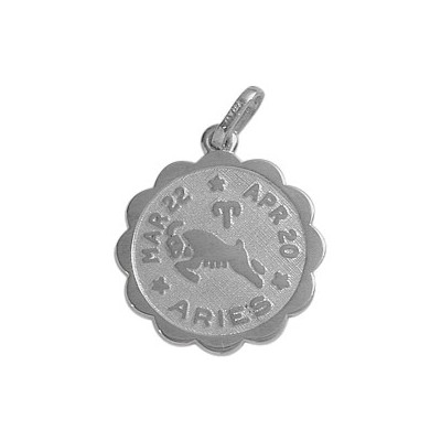 10 Karat White Gold Aries Zodiac Pendant (Mar 22 - Apr 20) with chain
