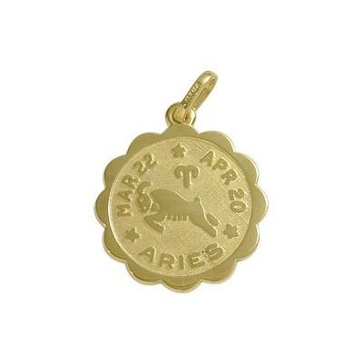 14 Karat Yellow Gold Aries Zodiac Pendant (Mar 22 - Apr 20)