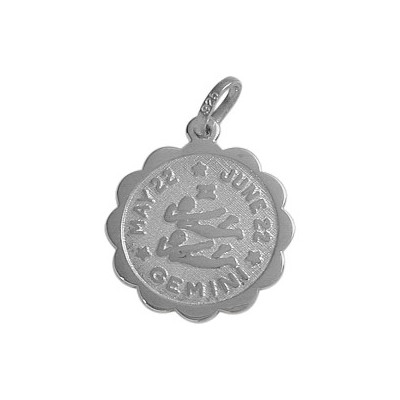 14 Karat White Gold Gemini Zodiac Pendant (May 22 - June 22) with chain