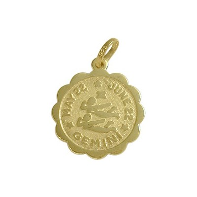 10 Karat Yellow Gold Gemini Zodiac Pendant (May 22 - June 22) with chain