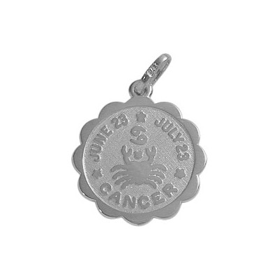 14 Karat White Gold Cancer Zodiac Pendant (June 23-July 23)