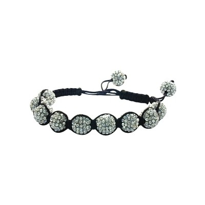 Ladies Black Fibre Cubic Zirconia Ball Bracelet