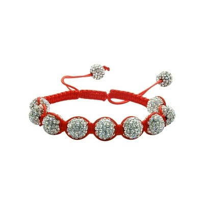 Ladies Red Fibre Cubic Zirconia Ball Bracelet