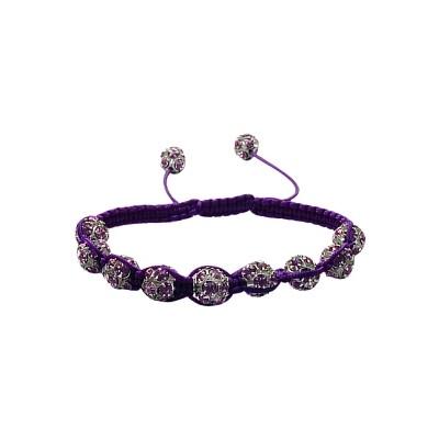 Ladies Purple Fibre Cubic Zirconia Ball Bracelet