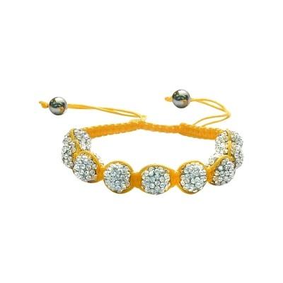 Ladies Yellow Fibre Cubic Zirconia Ball Bracelet