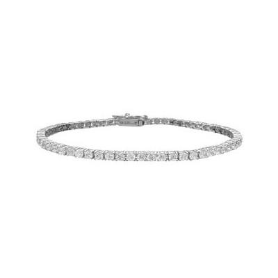 Sterling Silver Thin 59 Stone Tennis Bracelet