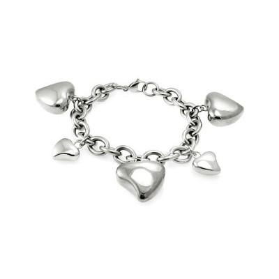 Stainless Steel Large Heart Charm Bracelet