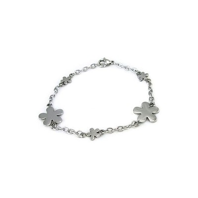 Ladies Stainless Steel Flower Bracelet