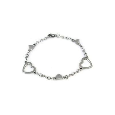 Ladies Stainless Steel Heart Bracelet