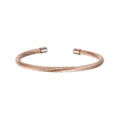 Rose Plated Stainless Steel Wire Cuff Bracelet