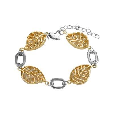 Stainless Steel Two Tone Leaf Link Bracelet